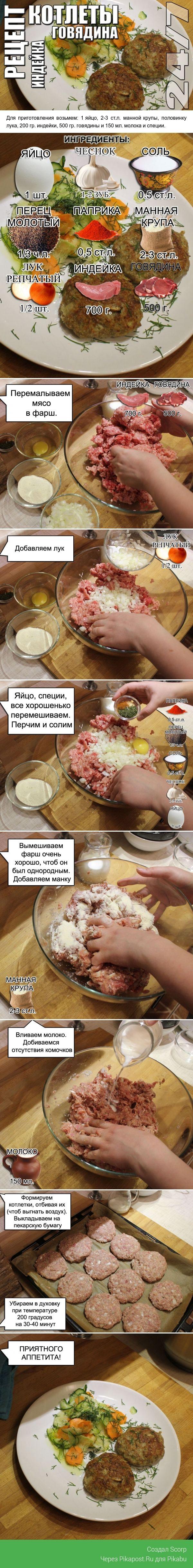 Рецепт. Котлеты из говядины и индейки. рецепт, кулинария, Интересное, длиннопост, Видео, котлета, моё, кухня