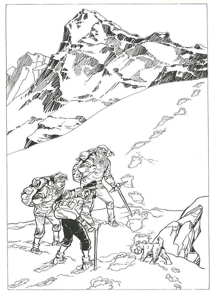 """La couverture de """"Tintin au Tibet"""" par COSEY"""