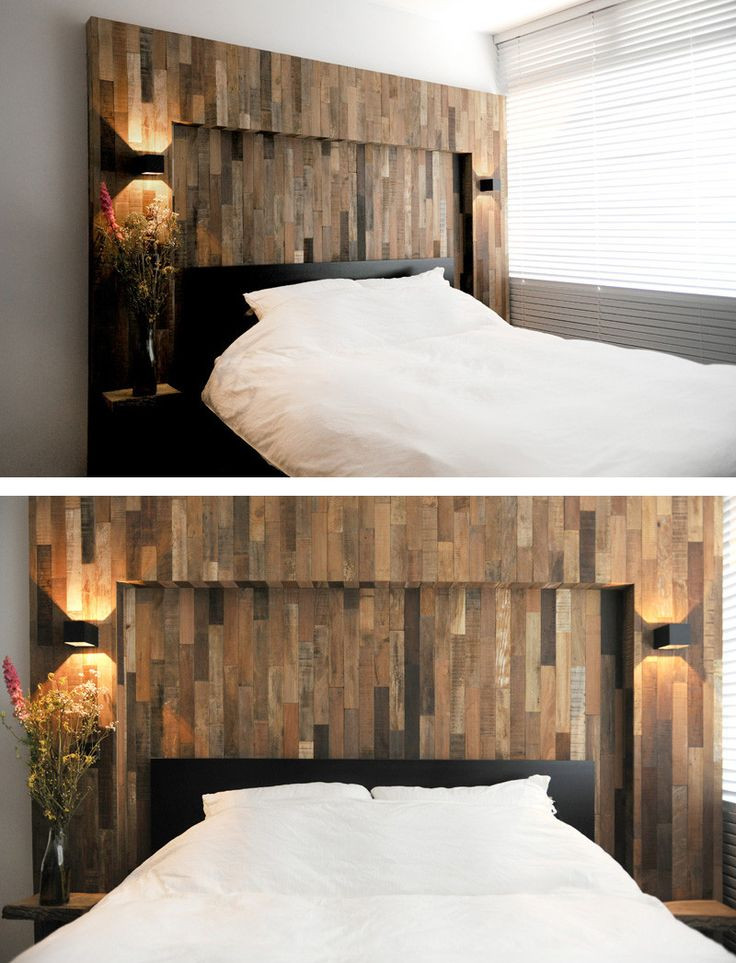 Wood has been used to create a headboard surround for the bed.