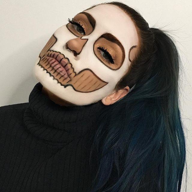 @mehronmakeup white paint  @nyxcosmetics hot black shadow   @carlibel palette for eyes  @redcherrylashes   @nyc_cosmetics_ liquid liner    #skull #skullmakeup #glamskull #glamorous #mua #makeup #sfx #sfxmakeup #picoftheday #faceoftheday #instagood #nyx #nyxcosmetics #nyccosmetics #mehron #halloweenlife