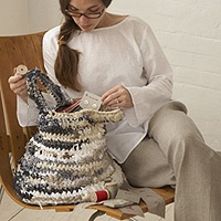 This beautiful Daniela Gregis bag is crocheted with the finest linen and cotton textiles