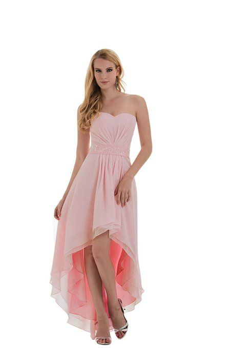 Moonar Chiffon Asymmetrical Strapless Prom Gown Wedding Dress Clearance Chiffon Short Front Long Back Evening Dress Beads decorate on the waist