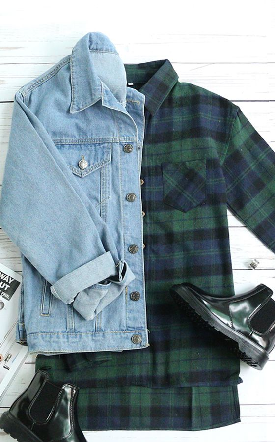 Soft casual style-Green blue checks plaid checkered loose blouse outfit.
