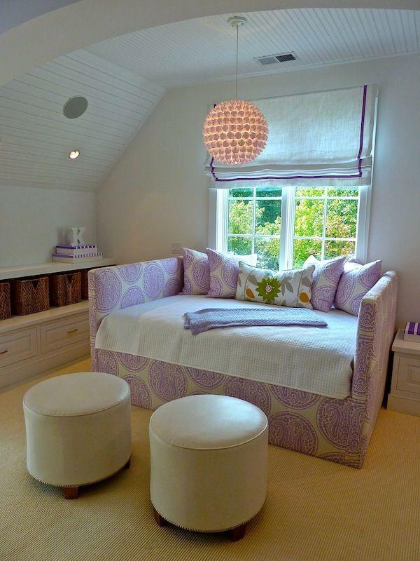 simple lavender + white girls sitting room, breadboard ceiling, pendant lighting, low bookcase storage Lynn Morgan