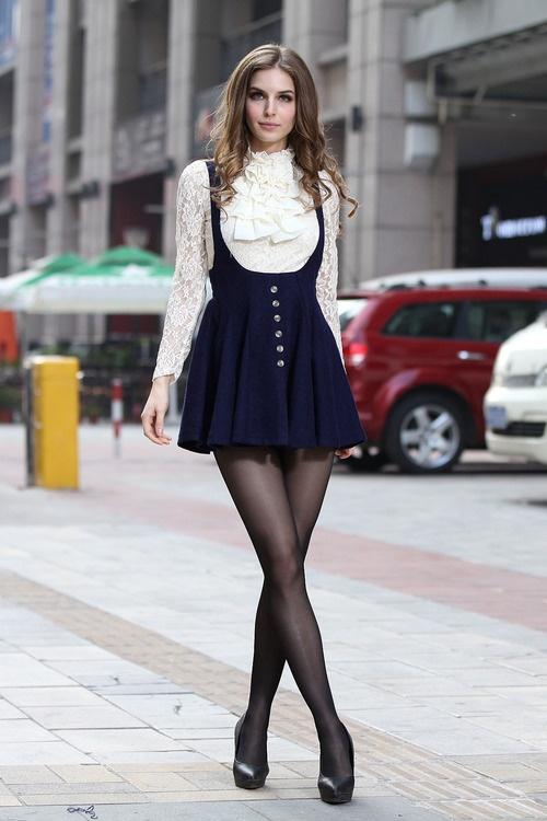 Elegant Dark Blue Polyester Suspender Women's Skirt