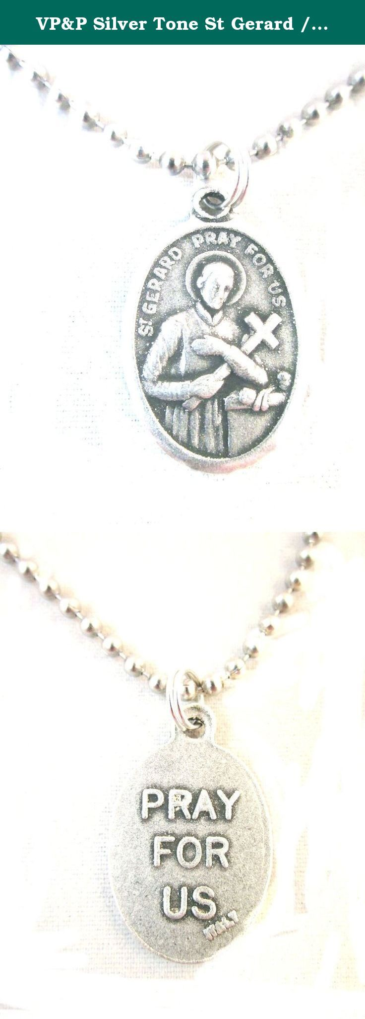 """VP&P Silver Tone St Gerard / Pray for Us Medal Pendant Necklace 24"""" Ball Chain. Die-cast oxidized medal made in Italy, on a 24"""" Stainless Steel Ball chain, made in USA. Patron of Children, Childbirth, Lay brothers, Mothers, Unborn children, Falsely accused people. Prayer card included."""