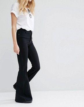 Dr Denim – Tracy – Hautenge Jeans mit hohem Bund und superweitem Schlag
