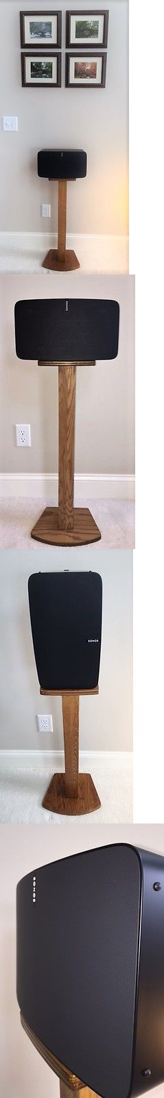 Speaker Mounts and Stands: Beautiful Oak Wood Single Speaker Stand Handcrafted For Sonos Play 5 (2Nd Gen) BUY IT NOW ONLY: $69.5