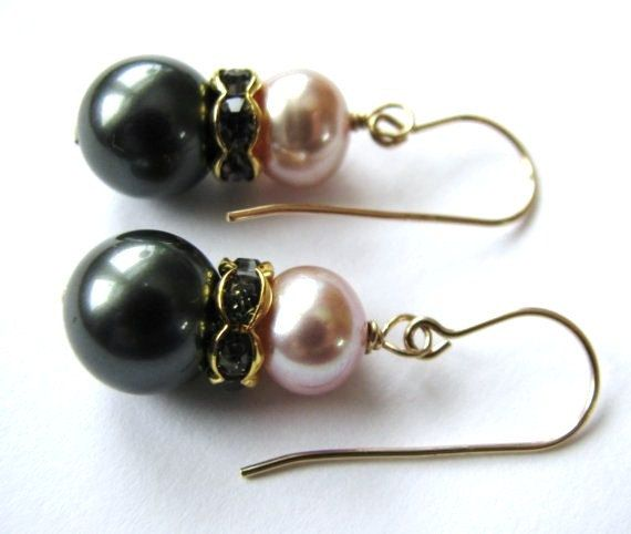 Charcoal Lilac Pearl Earrings Smoky Blue Gray by BelladonnasJoy, $28.00
