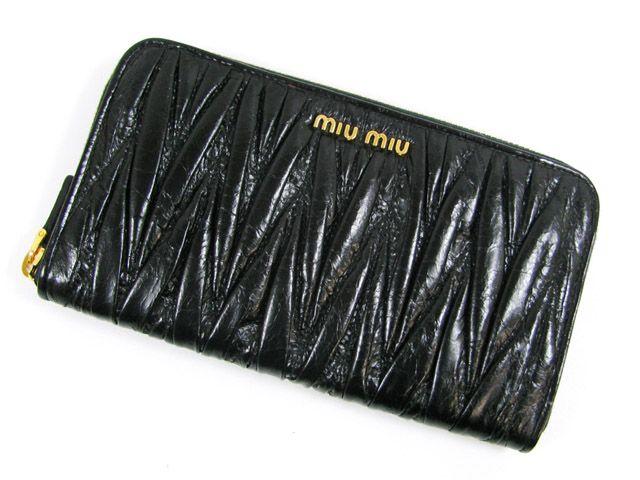 ミュウミュウラウンド長財布/ブラック(金具:ゴールド)/カーフ5M0506  -ミュウミュウ財布コピー