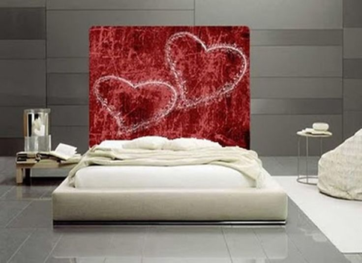 Red walled bedroom