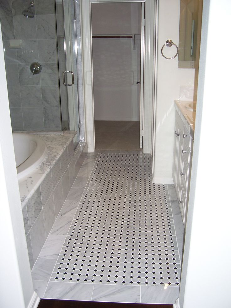 Master bath floor with carrera marble and octagon and dot for Master bathroom flooring