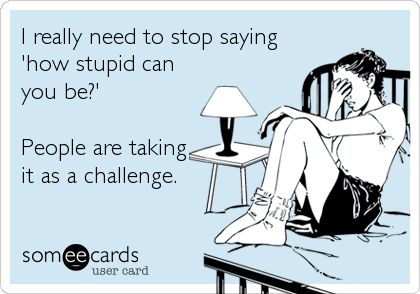 I really need to stop saying 'how stupid can you be?' People are taking it as a challenge.