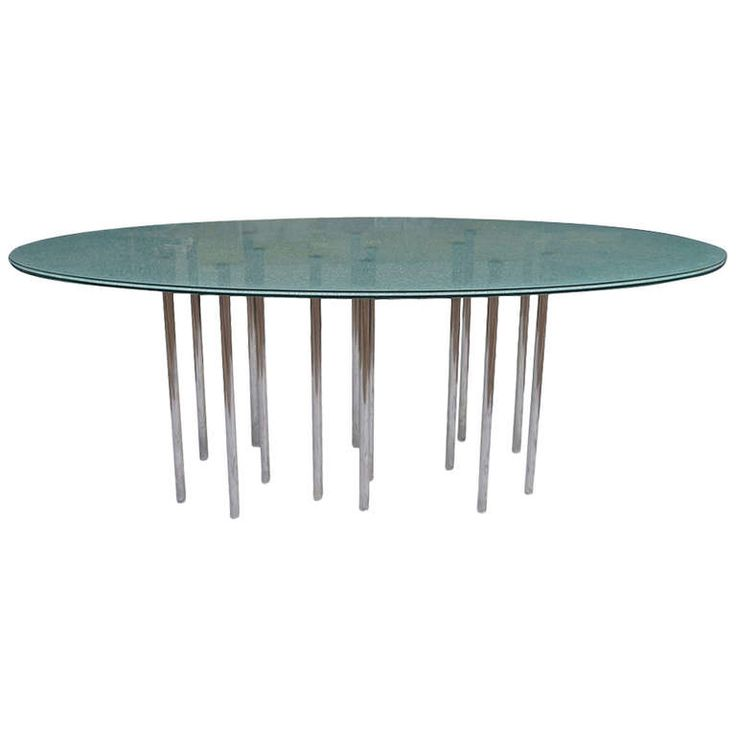 Mid Century Modern Oval Crackle Glass Dining Table Mid