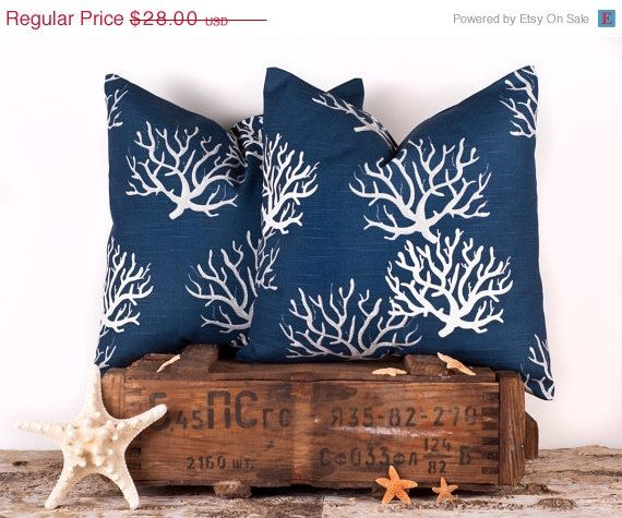 SALE ENDS SOON Navy Blue Throw Pillow Cover Natural by LilyPillow, $25.20