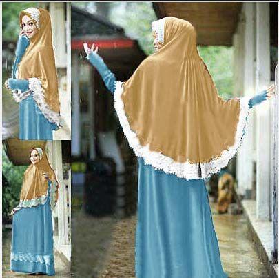 Model baju gamis muslim syar'i set bergo kura Kl01