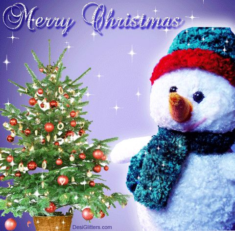 Snowman and Christmas Tree Merry Christmas Greeting gif