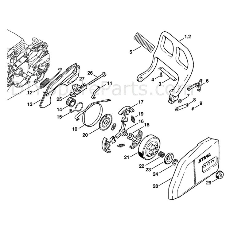 Stihl MS 180 Chainsaw (MS180C-B D) Parts Diagram, Hand