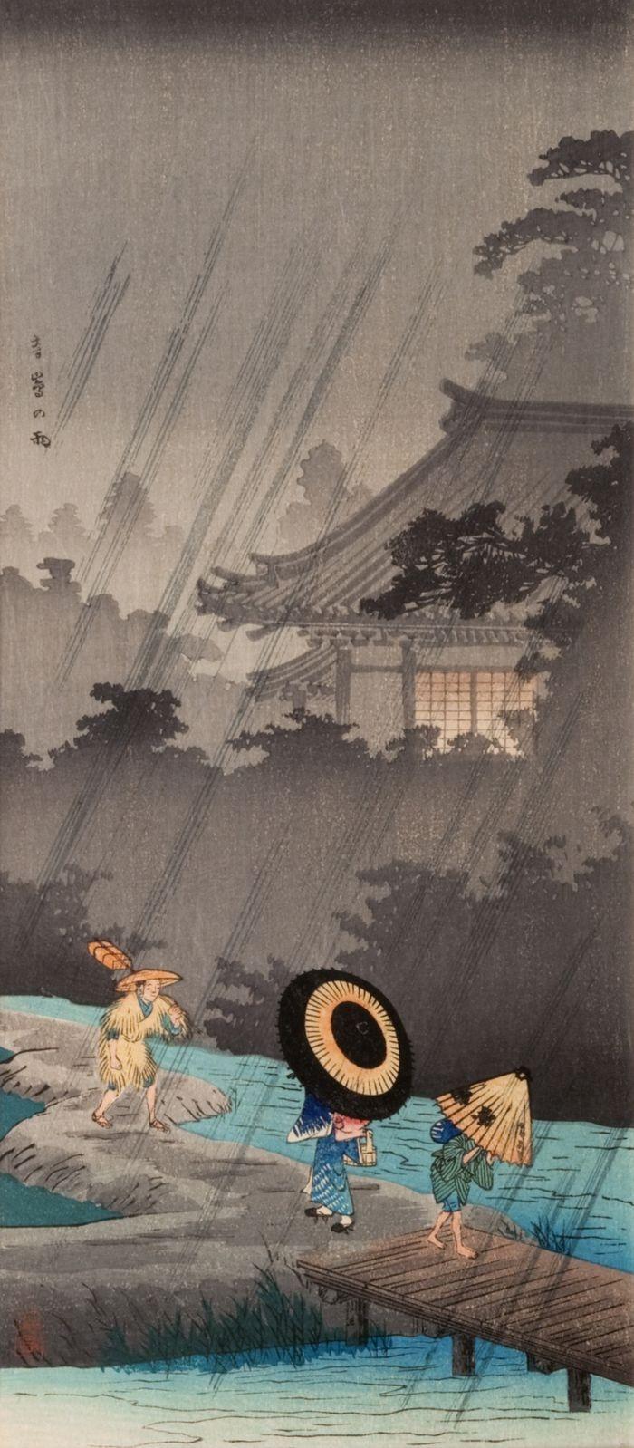 "Terashima Rain   Tattoo Ideas & Inspiration - Japanese Art   TAKAHASHI Shotei (1871~1945) - ""Shower at Terashima""   #Japanese #Art"