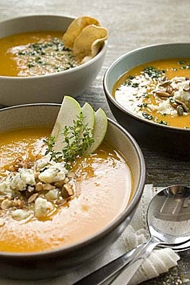 WF Butternut Squash soup - try with apples, gorgonzola & almonds.