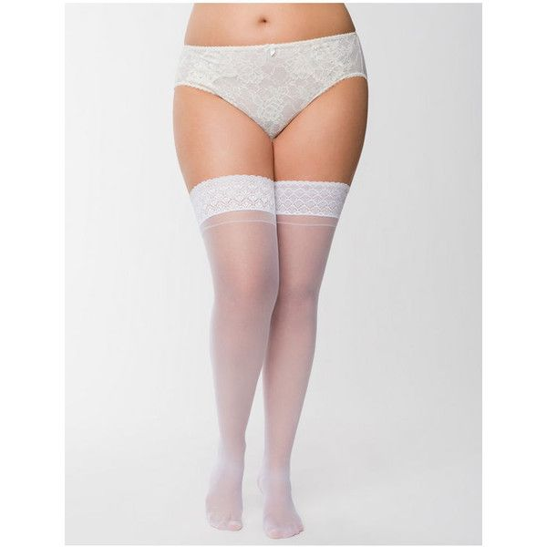 Lane Bryant Back seam thigh highs, Women's, Size: 2XL, White ($15) ❤ liked on Polyvore featuring intimates, hosiery, socks, plus size, white, white lace slip, lace garter slip, white socks, thigh high socks and plus size thigh high socks