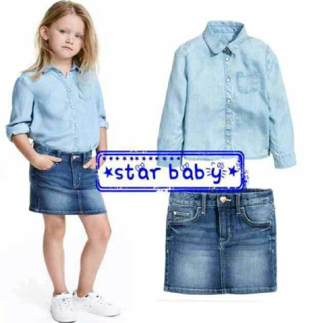 GC158 Setelan Denim Anak Cewek+Rok Jeans Size 2th 4th 6th 7th Rp126.000 (ready)
