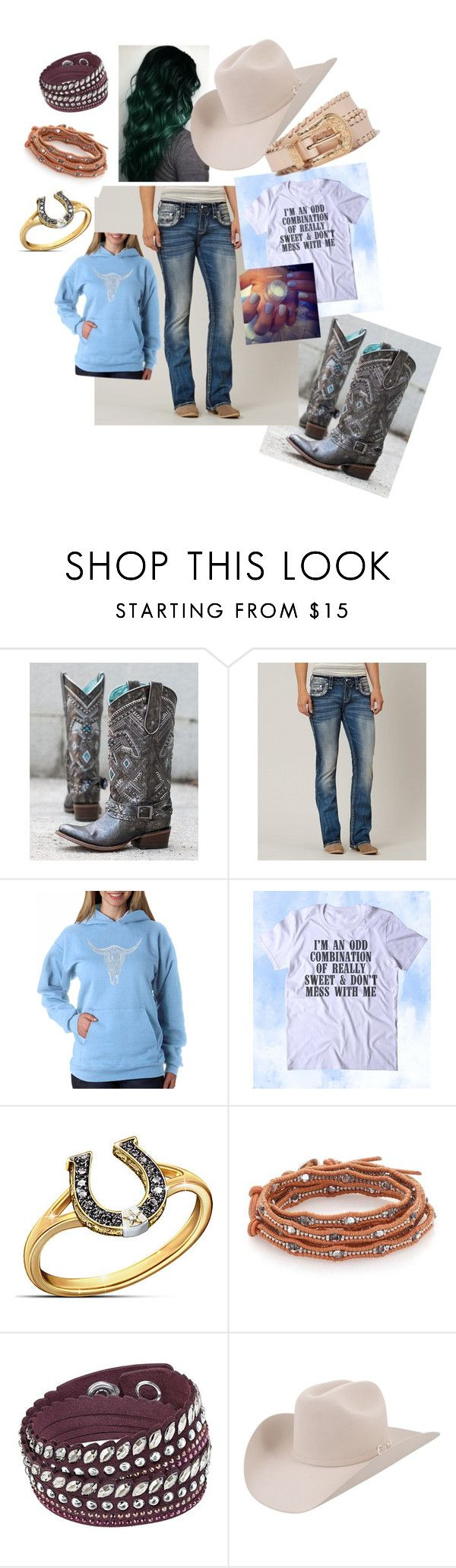 """""""cowgirl western outfit"""" by heidilott5 ❤ liked on Polyvore featuring Corral, Rock Revival, Los Angeles Pop Art, The Bradford Exchange, Chan Luu, Swarovski, Stetson, River Island and plus size clothing"""
