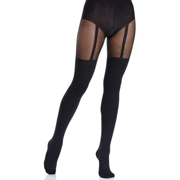 Pretty Polly Suspender Tights (32 CAD) ❤ liked on Polyvore featuring intimates, hosiery, tights, socks, doll parts, accessories, stockings, black, opaque suspender tights and black nylon stockings