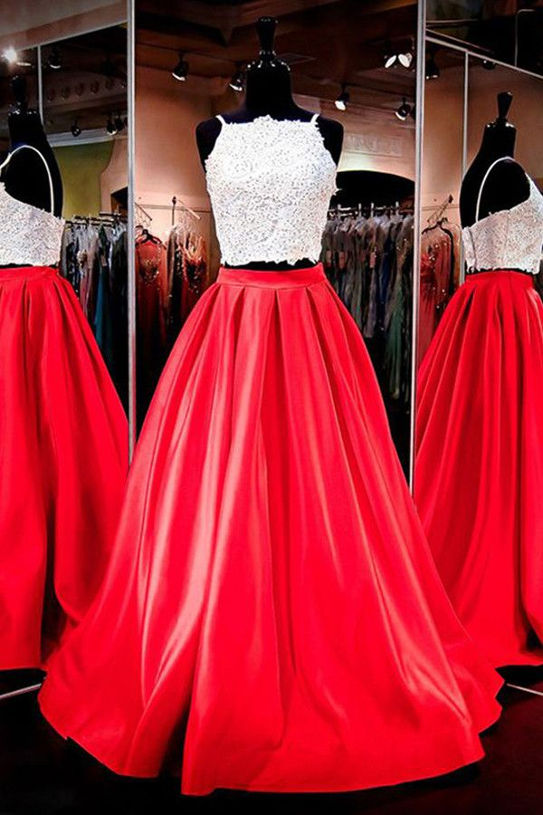 Red Floor-Length Prom Dresses,Two-piece Square Neck Lace Prom Dresses,Prom Dress,SIM445