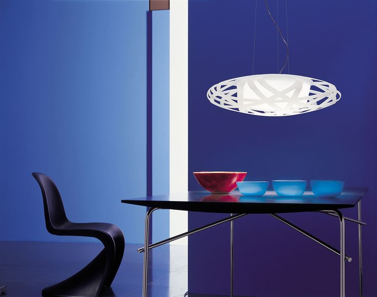 X-RAY design by Paolo de Lucchi with Giorgia Paganini for Leucos. Hanging lamp with diffuser in white carved plastic material. #hanginglamp #Leucos