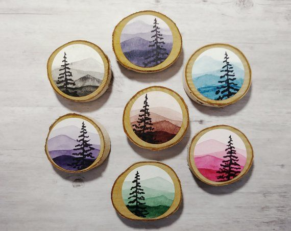 Mountain Pines Ornament Wooden Magnet Painting Forest Watercolor Wood Slice Refrigerator Magnets Trees Pines Sky Original Painted Miniature