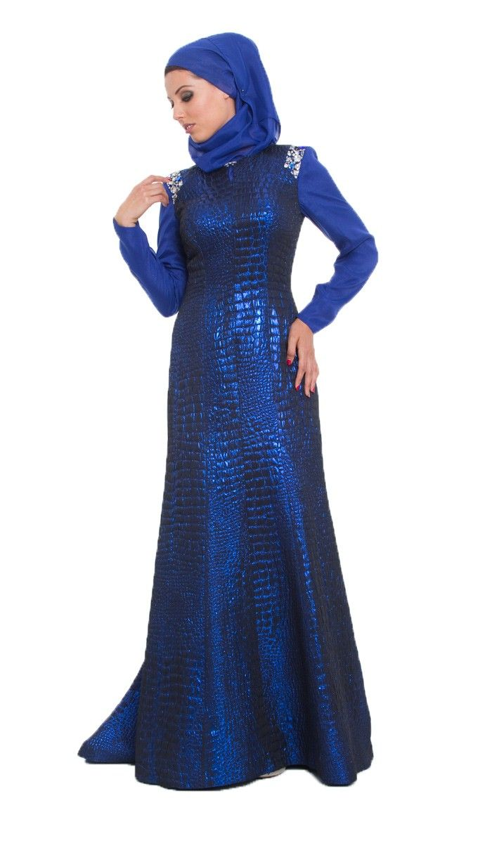 Amie Royal Blue Islamic Formal Long Dress with Hijab | Islamic Dresses at Artizara.com