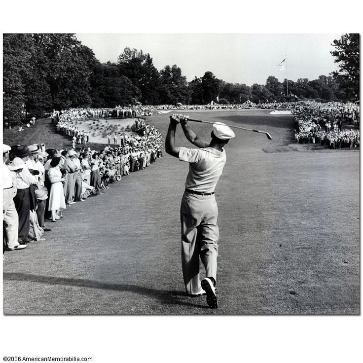 Ben Hogan's famous 1 iron approach to the 72nd hole in the 1950 US Open at Merion Golf Club became one of the most iconic images in golf history. Ben overcame a near fatal car accident 16 months earlier to win his second open title in a playoff.