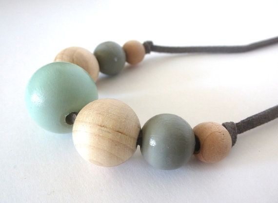 Mint green and gray graduated wood bead necklace, natural jewelry, spring jewelry, pastel and wood jewelry
