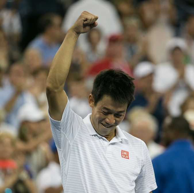 #Nishikori upsets #Wawrinka in five sets to reach his first Grand Slam semifinal! Get Kei's gear here: http://www.tennis-warehouse.com/player.html?ccode=KNISHIKORI