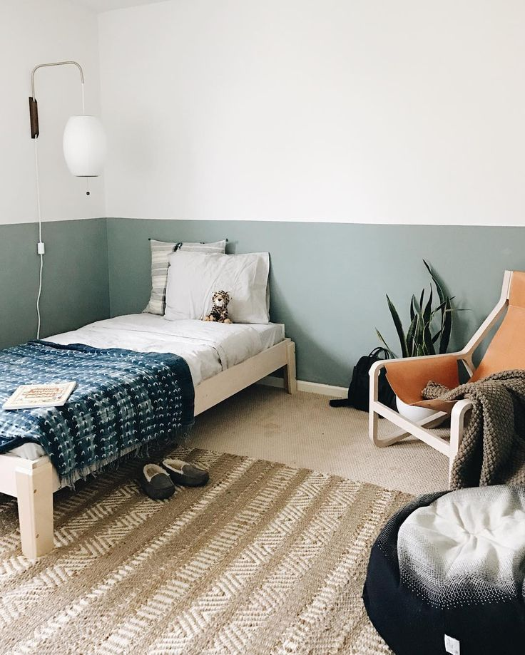 Green Kids Room: Green Half Painted Wall In Kids Room In 2019