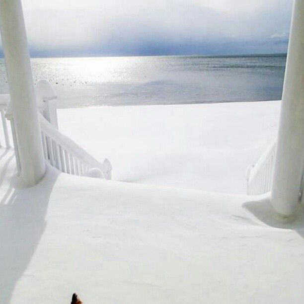 In Milford, CT.... Looks like heaven, snow, beach and the ocean all at the same time.