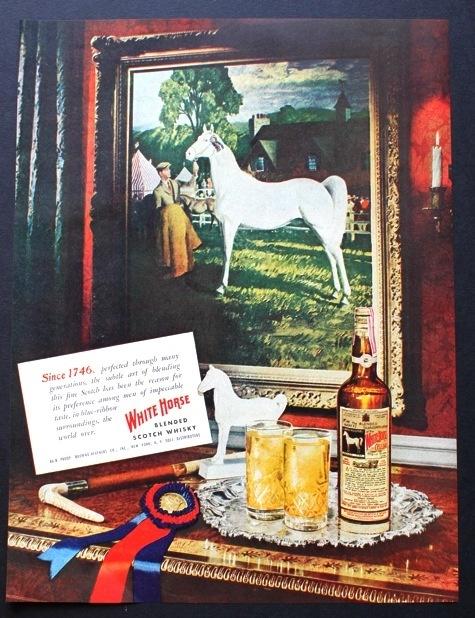 1948 White Horse Scotch Whisky Blue Ribbon Horse Painting Vintage Print Ad | eBay