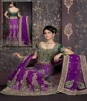 Perfect color combination. Purple and green raw silk material.