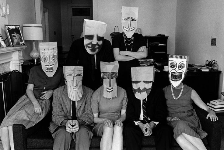 "Inge Morath, Masks by saul Steinberg, From the ""Masquerade"" Series, New York City, 1962."