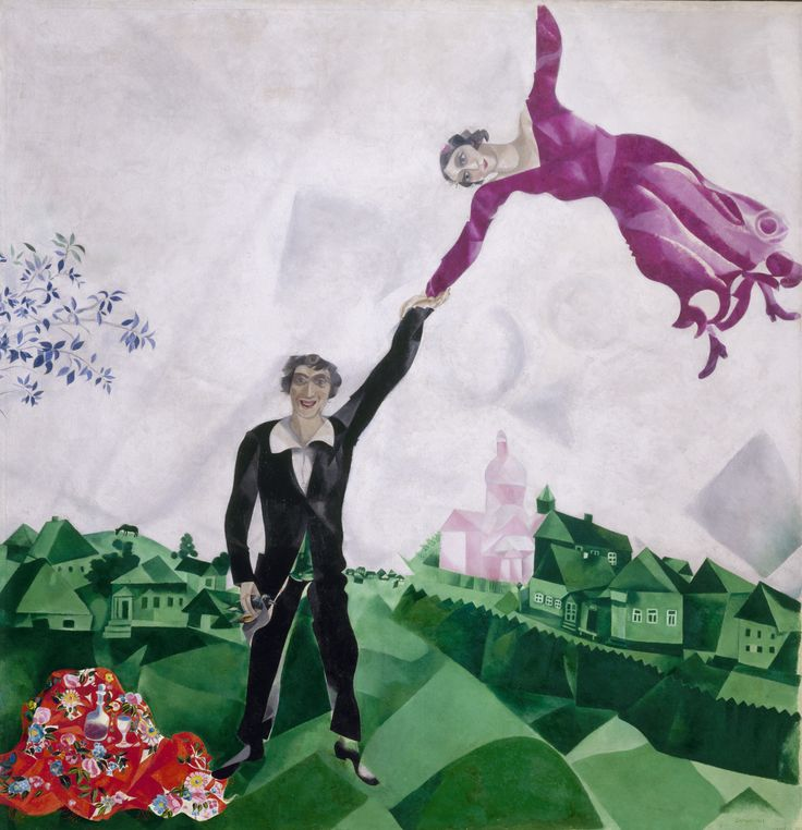 Marc Chagall, Promenade, 1917–18. This was painted when the artist was serving as Commissar for the Arts in Vitebsk. By 1923 he was disillusioned with the poverty and violence of the Bolsheviks' brave new world and emigrated definitively to Paris.