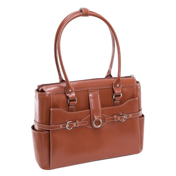 McKlein USA Willow Springs Leather Ladies Briefcase - Red Brown - 96564
