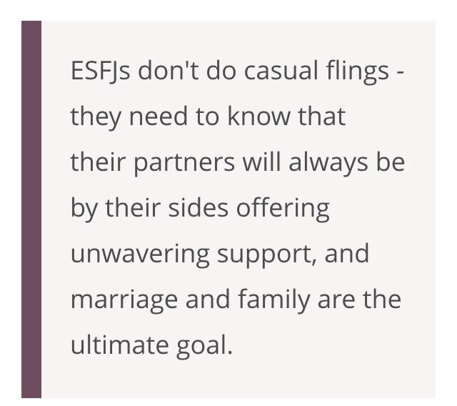 esfj dating Dating an esfj personality type warm-hearted, generous and conscientious, the esfj personality type is an asset to any close relationship they are highly committed as family members and partners and often bring out the best in others if you are interested in a relationship with an esfj, here are few things worth keeping in mind.