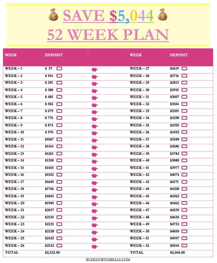 52 week money saving challenge free printable inside