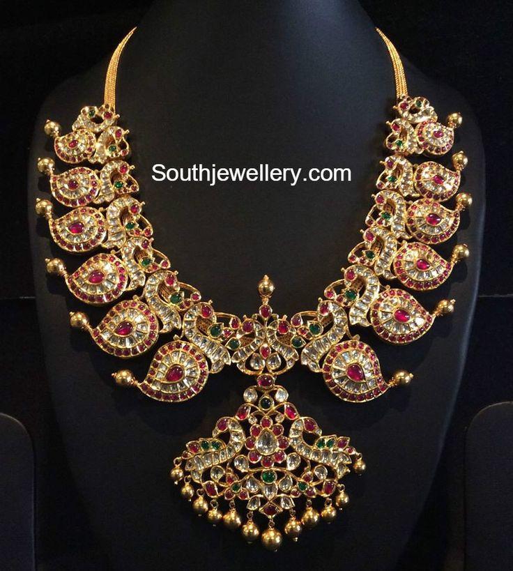 kundan_peacock_mango_necklace.jpg (862×960)