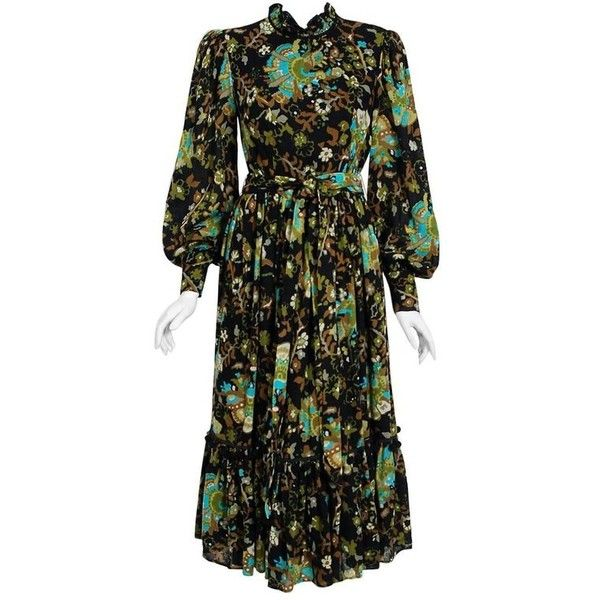Preowned 1970's Gina Fratini Floral Print Wool Billow-sleeve Belted... ($700) ❤ liked on Polyvore featuring dresses, aesthetic day dresses, black, boho style dresses, gypsy dresses, floral dresses, boho chic dresses and floral printed dress