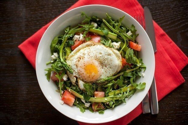 Shaved Asparagus Salad with Shallots and Fried Eggs | 19 Healthy Dinners Under 500 Calories That You'll Actually Want To Eat