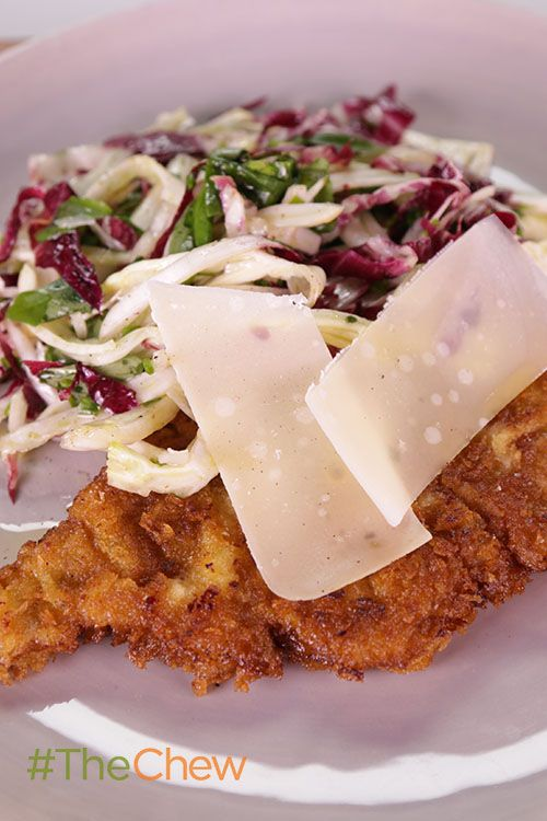 Impress your dinner guests with this delicious Veal Milanese with a Shaved Vegetable Salad!