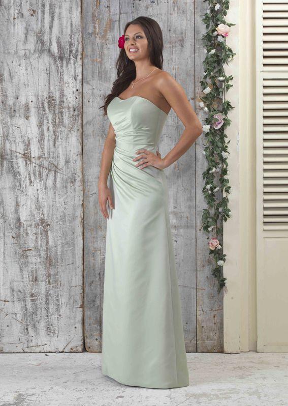 EN040 Strapless Satin Bridesmaid Dress Side