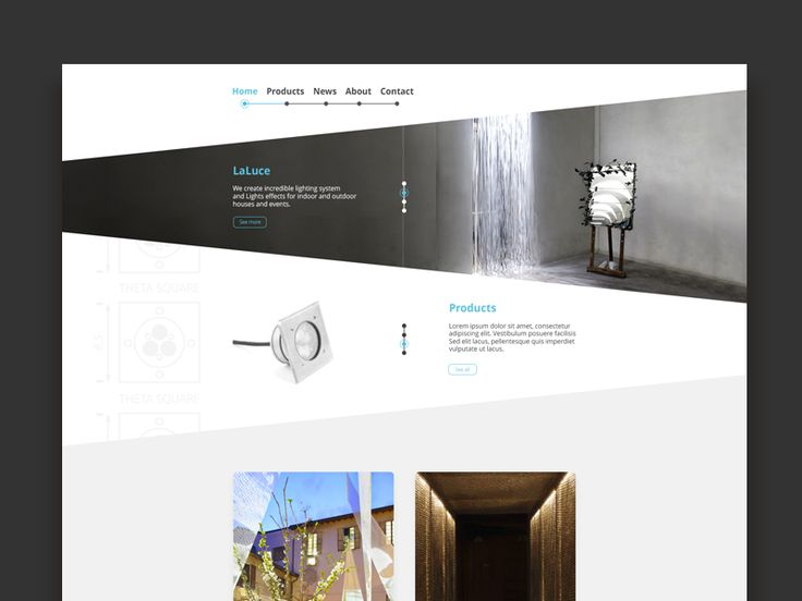 Website concept for an Italian lights system for indoor and outdoor projects. Unfortunately the client chose another way.  The concept is pretty simple: I used the same shape from the logo that I d...